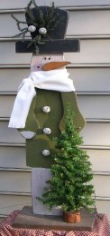Wooden Painted Tall Outdoor Snowman