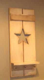 Painted Wood Star Shutter Shelf